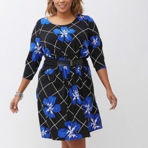 Lane Bryant • Blue Floral belted Midi Dress 22/24